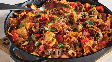 cuisiner des chignons de a la poele lasagne au bœuf et aux chignons dans une seule po 234 le recettes iga