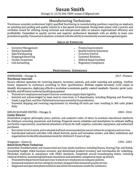 Manufacturing Resume by Manufacturing Technician Exle