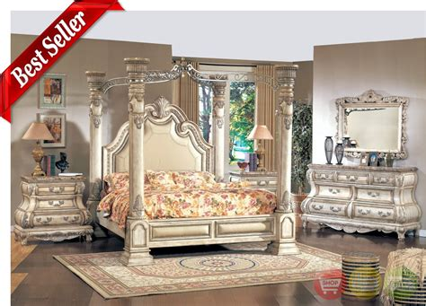 Antique White Finish Wood King Size Poster Bed Canopy
