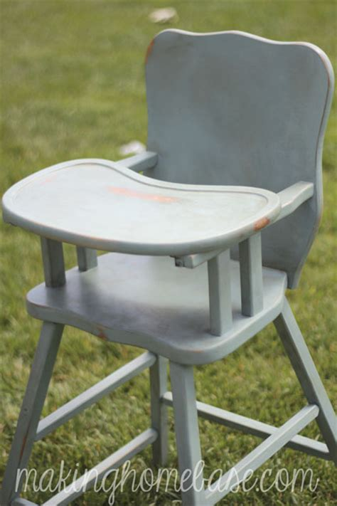 wooden high chair with sloan chalk paint