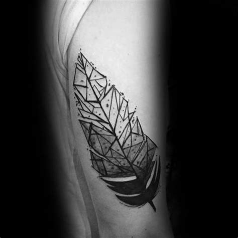 geometric feather tattoo designs  men shaped ink ideas