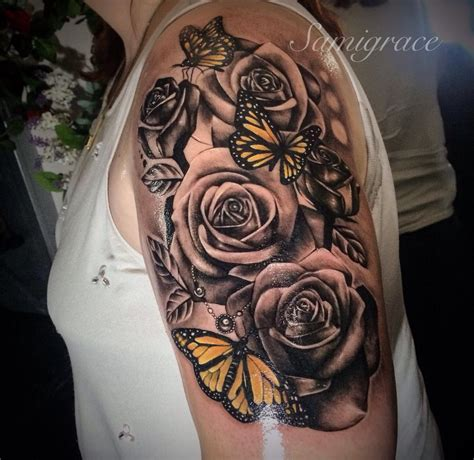 roses  butterflys   tattooideas sunflower
