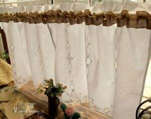 PAIR(2) Burlap Bathroom Kitchen Cafe Curtains Framhouse