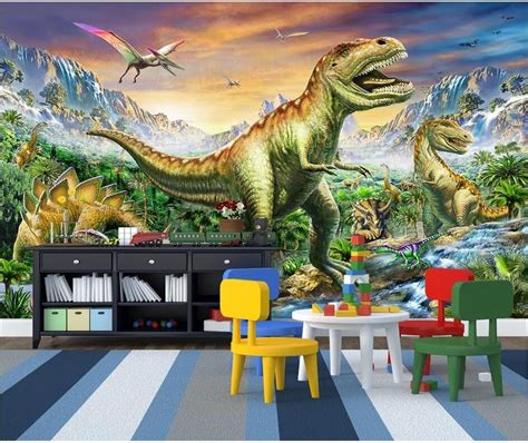 custom mural  wallpaper forest tyrannosaurus dragon