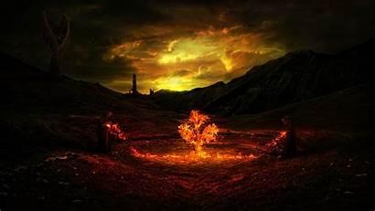 Fire Fantasy Trees Desktop Backgrounds Wallpapers Mobile