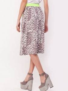 Buy KOOVS Neon Waistband Printed Midi Skirt For Women