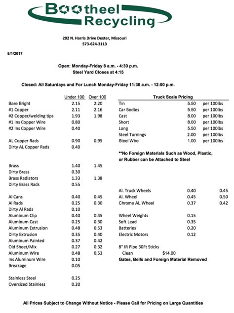 bootheel recycling price sheet save  environment