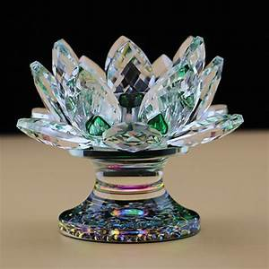 Crystal Lotus Flower Candle Holders Feng Shui Glass