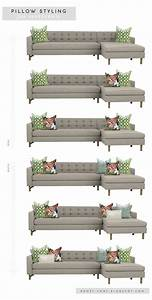 2 pile on the pillows pillow styling for sofas With sectional sofa arrangement ideas