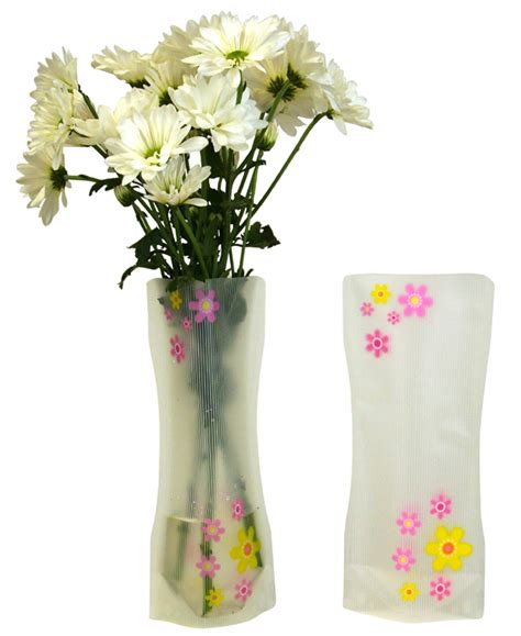 Plastic Floral Vase Pink Yellow Flowers