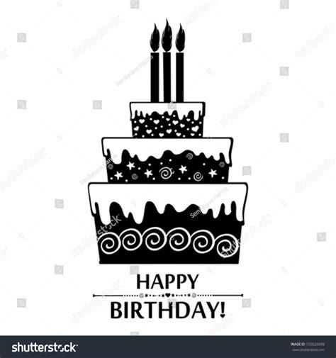 birthday card black white cake isolated stock vector
