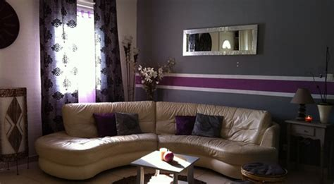 deco gris et violet deco salon violet et gris