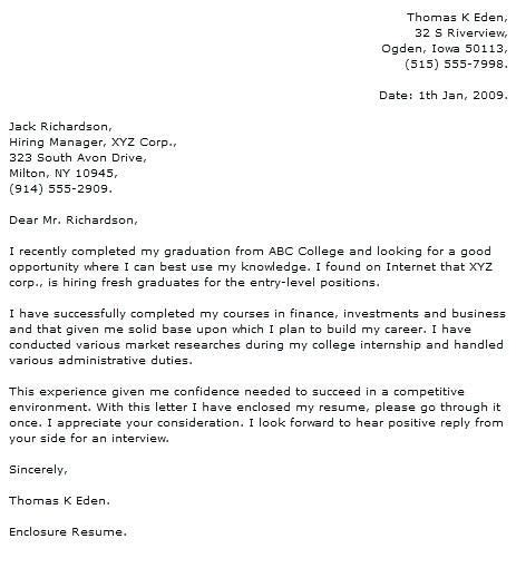 Get Me Hired by Cover Letter For Fresh Graduate Finance Cover Letter For