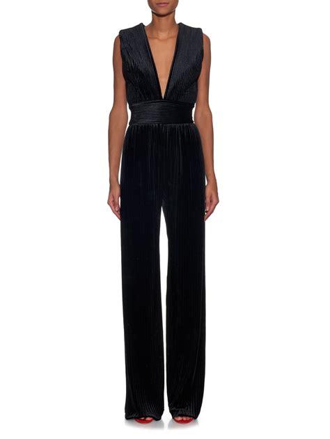 black velvet jumpsuit balmain pleated velvet jumpsuit in black lyst