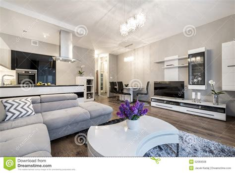 salon de la cuisine cuisine et salon dans la maison de luxe photo stock