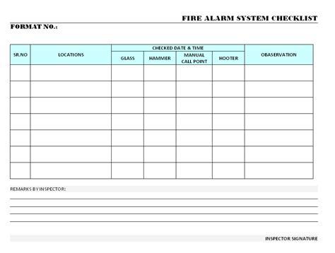 fire alarm system checklist format samples word
