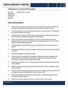 Administrative assistant job description template for Executive administrative assistant job description template