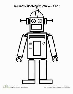 find the shapes rectangles worksheet educationcom With see a robot workout