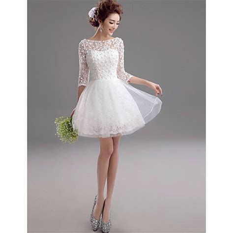 shortmini wedding dress bateau lacecheap uk