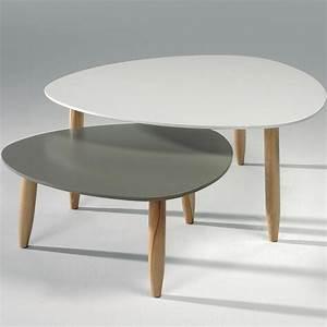 Table Basse Blanc Gris : table basse gigogne style scandinave sofamobili ~ Teatrodelosmanantiales.com Idées de Décoration