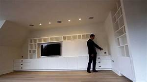 Bespoke built in media TV unit UK - YouTube