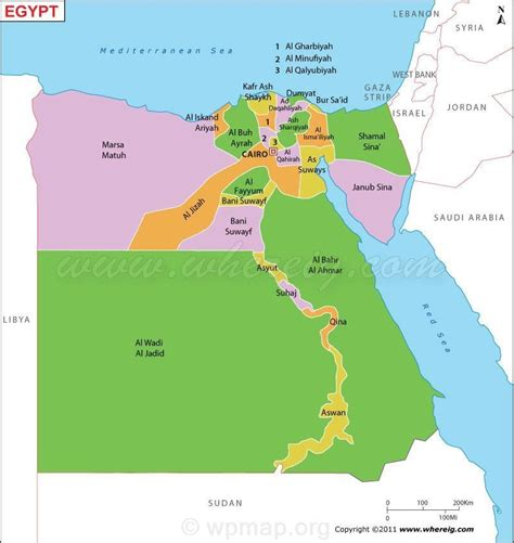 political map  egypt