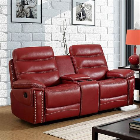 Leather Reclining Loveseat With Center Console artemis contemporary faux leather reclining loveseat