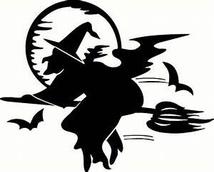 Halloween witch on broom & Moon Vinyl Wall or Vehicle
