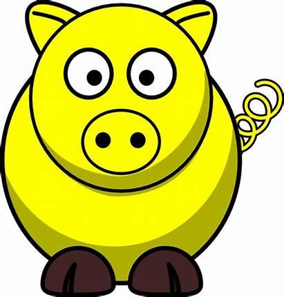 Yellow Pig Clker Clip Clipart Vector