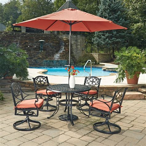 outdoor table ls biscayne black 7 pc outdoor dining table 4 swivel
