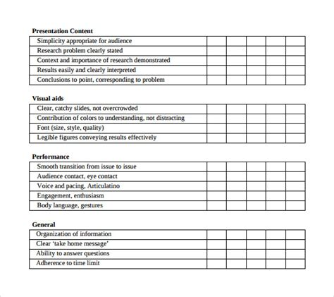 Presenter Evaluation Form Template by 9 Presentation Evaluation Forms Sles Exles