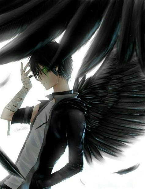 anime boy wings angel black hair blue eyes bandages