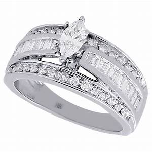 14k white gold marquise cut solitaire diamond wedding With wedding band for marquise cut engagement ring