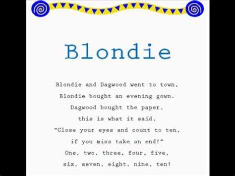jump rope songs blondie read along jump rope songs kids songs learning to read youtube