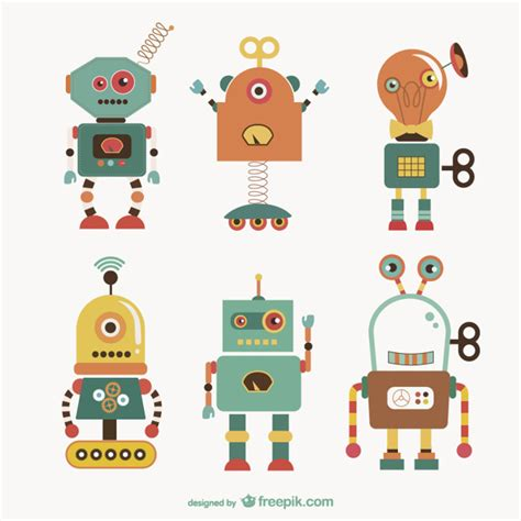 Cute Robots Collection Vector  Free Download