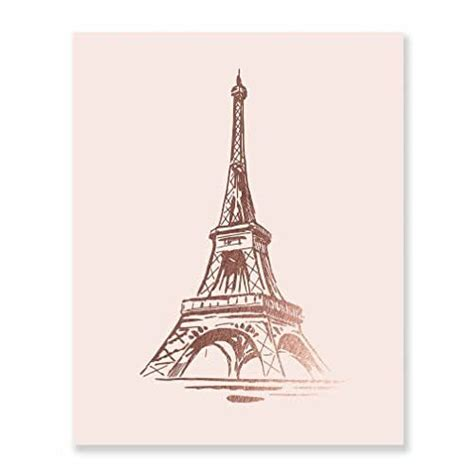 amazoncom eiffel tower rose gold foil print wall art