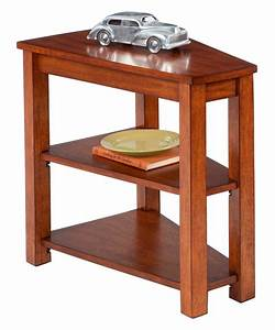 Engraving Wedge Shaped End Table With Shelf And Drawer