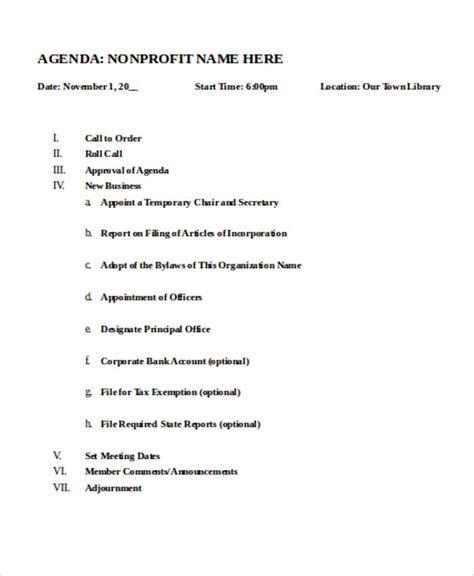 non profit board meeting agenda template nonprofit agenda templates 7 free sle exle format free premium templates