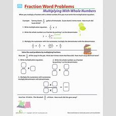 Fraction Multiplication Word Problems  Worksheet Educationcom