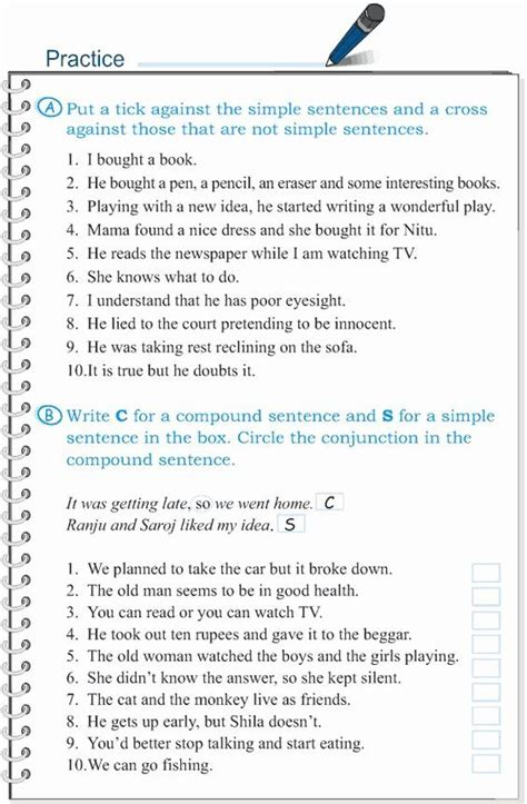 compound sentences worksheet  answers awesome pound