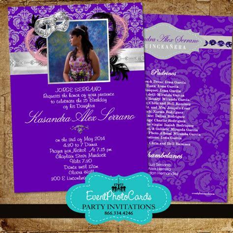 purple silver masquerade invitations sweet  birthday