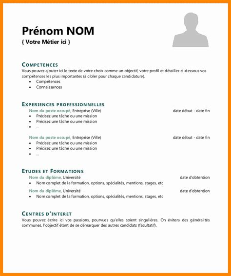 Model De Cv En Francais Simple model de cv simple en francais exemple cv emploi fotolib