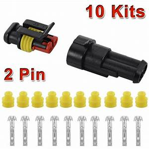 10 Kit 2 Pin Way Sealed Waterproof Electrical Wire