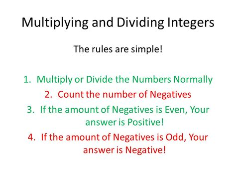 Rules For Multiplying And Dividing Integers  Ppt Video Online Download