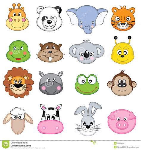 frog themed baby shower animal faces icons royalty free stock photos image 33004548