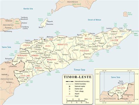 east timor map dili timor leste asia
