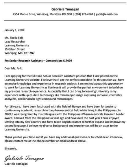 newcomer  canada cover letter httpexampleresumecv