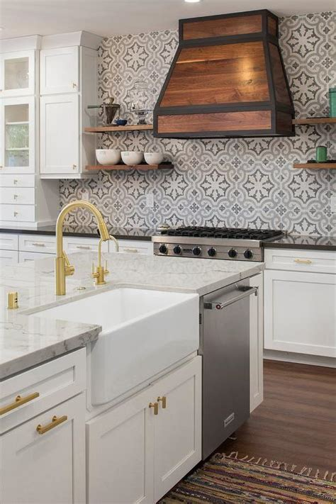 Blue and Gray Cement Kitchen Tile Backsplash