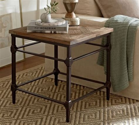 Our lacquer finish with light and dark tones allows for the wood's natural grain to show. Parquet Reclaimed Wood Rectangular Coffee Table   Coffee table pottery barn, Wood end tables ...