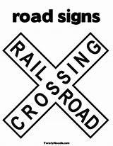 Coloring Sign Crossing Railroad Signs Road Printable Pages Stop Printablee Via sketch template